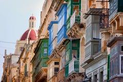 Balconies Valletta, Malta royalty free stock photography