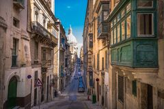 Street of Valletta with traditional balconies, Malta.  Royalty Free Stock Photography