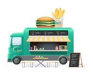 Street van, shop truck counter on wheels, sale of hamburgers. Street van with fast food, shop counter on wheels, stall, sale of hot hamburgers, french fries and stock illustration