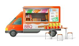Free Street Van, Shop Truck With Stall, Counter With Barbecue, Grill. Royalty Free Stock Image - 138975656
