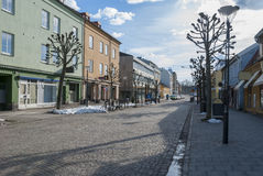 Street in Vanersborg city in winter. Sweden royalty free stock photography