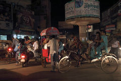 The street of Varanasi at night Royalty Free Stock Photo