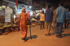 The street of Varanasi at night Stock Images
