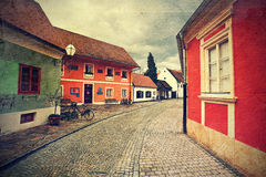 Street in Varazdin. Croatia. Picture in artistic retro style stock image