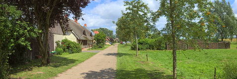 Street with various houses listed as monuments at Jager, Mecklenburg-Vorpommern, Germany.  stock photography