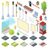 Street vector city roads with traffic light and bus stop illustration of isometric park with bench and streetlight in. Cityscape set isolated on white Stock Photos