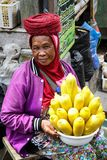 A street vender selling boiled corn on the cobs in Bedugul, Bali stock images