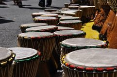 Street vendor of African djembe drums Royalty Free Stock Image