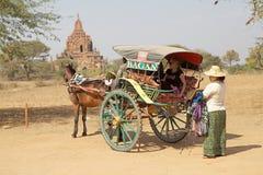 Street vendor in Bagan archaeological site, Myanmar Royalty Free Stock Photos