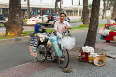 Street vendor with bike Stock Images