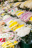 Street vendor display with flowers in NYC Stock Images