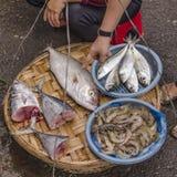 Street vendor fish. Fishmonger in the streets of Vietnam Stock Photo