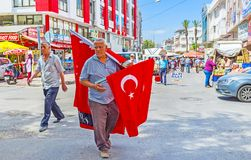 The street vendor of flags, Antalya Royalty Free Stock Photography