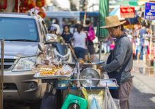 Street vendor of fried snacks Royalty Free Stock Photography