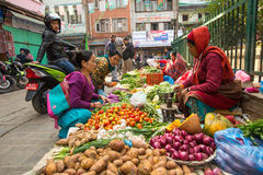 Street vendor in historic center of city. Largest city of Nepal, its economic center. Stock Images