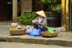 Street Vendor in Hoi An royalty free stock image