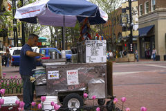 Street vendor. Hot dog stand in Boulder, Colorado Royalty Free Stock Image
