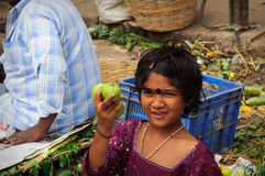 Street Vendor in India Selling Fruit Royalty Free Stock Image