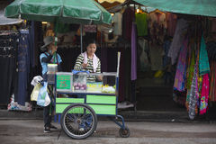Street vendor in the Khao San Road area of Bangkok. Royalty Free Stock Photos
