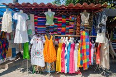 Street vendor in Mexico. Street textile and clothing vendor in Puerto Vallarta, Mexico Stock Images