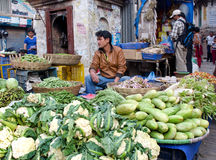 The street vendor sell his fruits in Thamel in Kathmandu, Nepal. Royalty Free Stock Image