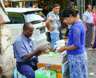 Street vendor selling betel leaves at Yangon Royalty Free Stock Photos