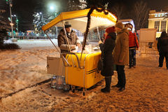 Street vendor selling corn in winter. VVC, Moscow Royalty Free Stock Images