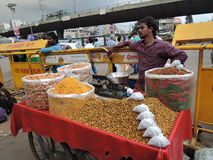 A street vendor selling different kinds of snacks Royalty Free Stock Photography
