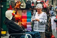 Street vendor selling hats in Manhattan. Stock Photos