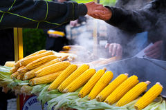 Street vendor selling hot sweet corn Royalty Free Stock Photos