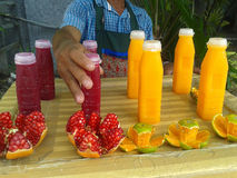 Street vendor selling juice Stock Photo
