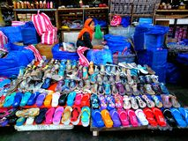 Street vendor selling slippers Stock Photography