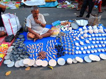 A street vendor selling stone artifacts Royalty Free Stock Photography