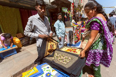 Street vendor selling textile for indian housewifes Royalty Free Stock Images