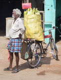 Street vendor sells corn on the cob. Royalty Free Stock Image