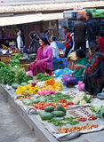 The street vendor sels his fruits and vegetables in Thamel in Ka Stock Images