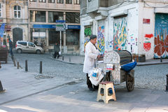 Street vendor with turkish street cart Royalty Free Stock Photo
