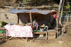 Street vendor at the village in Myanmar Royalty Free Stock Photography