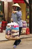 Street vendor woman in Hanoi stock photo