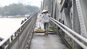 Street vendor. Woman porter of fresh fruit in Vietnam. Street vendor. Woman a porter of fresh fruits in Vietnam. Tough and popular work among poor people in stock video