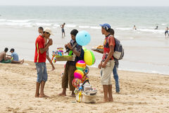 Street vendors on the beach Royalty Free Stock Images