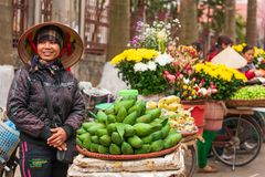 Street vendors with bicycles on the street of Lao Kai, Vietnam-China border. Vietnamese woman street venders with Non La or. Lao Kai, Vietnam – FEBRUARY royalty free stock photography