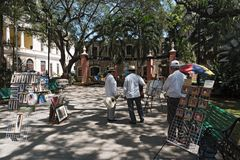 Street vendors and musicians in the Madre Park in the historic center of Merida, Yucatan, Mexico.  royalty free stock image