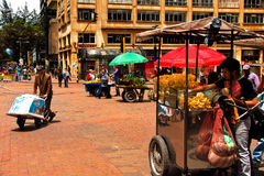 Street Vendors Nears the Plaza de Bolivar. This is a typical street scene from downtown Bogota, Colombia Royalty Free Stock Photography