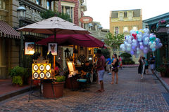 Street vendors off a side street at Walt Disney World Stock Image