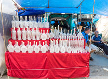 Street vendors of the original bottles of Leskovac in Serbia Stock Images