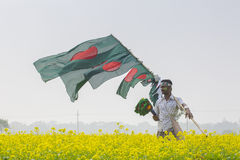 A Street vendors sell Bangladeshi national flags in a winter day, Munshigonj, Dhaka, Bangladesh, Asia. Ahead of the country's 44th Victory Day celebrations Royalty Free Stock Photo