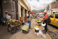 Street vendors selling produce on the street in Ibarra Stock Photography