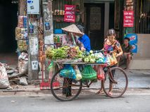 Street vendors selling various types of vegetables from their bicycle in Hanoi Old Quarter. stock photo