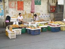 Street vendors wait for customers Stock Photo